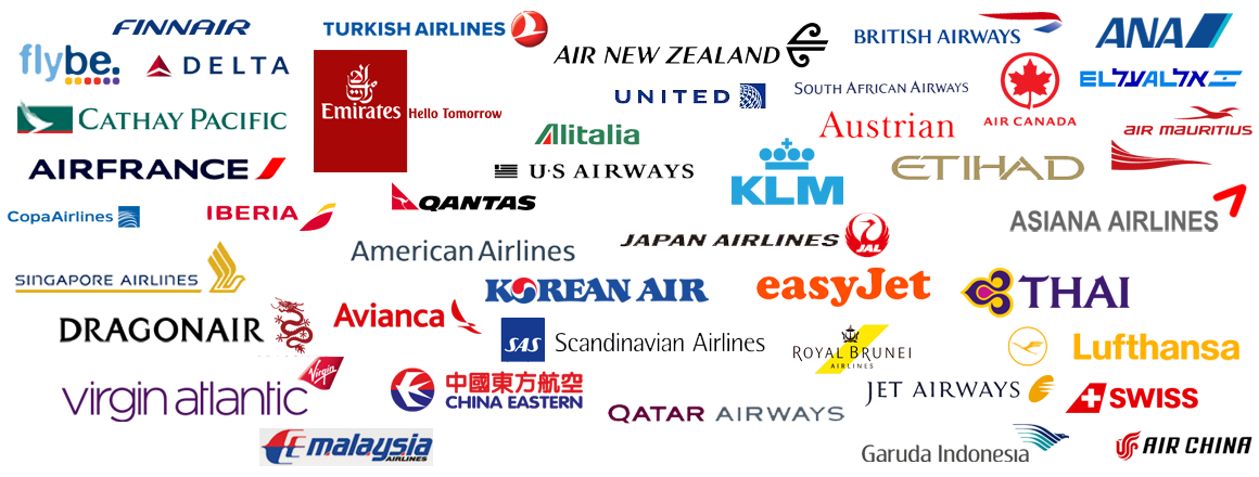 logos for various airlines.